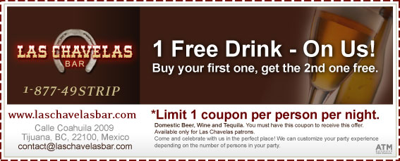 Coupon - 1 Free Drink Coupon - Buy one drink, get the second one free