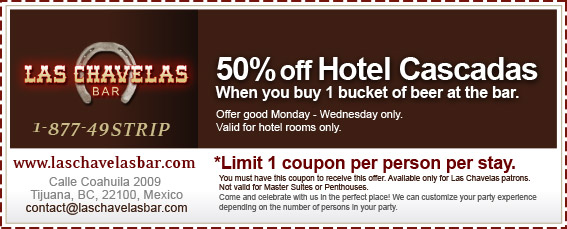 Coupon - 50% off Hotel Cascadas when you buy 1 bucket of beer at the bar.
